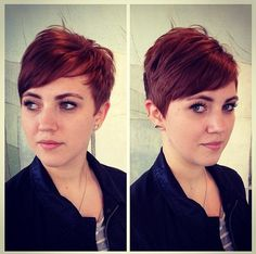 Red Pixie Haircut: Short Hairstyles for Side Bangs
