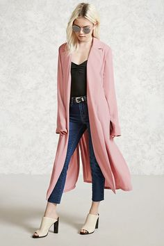 Forever 21 Contemporary - A textured woven jacket featuring a longline silhouette, open front with a notched collar, a belted-sash at waist, side slits, and long sleeves.