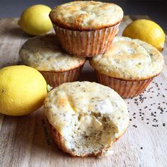 LEMON CHIA SEED PROTEIN MUFFINS- these breakfast beauties include protein powder, almond flower, greek yogurt, unsweetened applesauce, egg whites, lemon juice and zest, stevia, vanilla, and poppyseeds