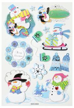Softy Sticker 3 D Schneemann II von A -Z Bastelshop auf DaWanda.com