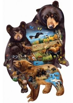Bear Family Adventure SunsOut SHAPED 1000 Piece Jigsaw Puzzle by Artist Cynthie Fisher, $18.50