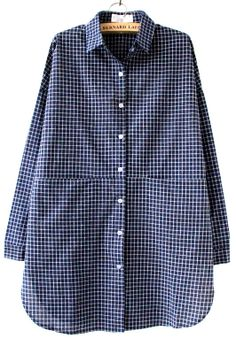 Blue White Plaid Lapel Pocket Loose Blouse - Sheinside.com