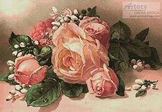 Pink and Apricot Roses - cross stitch pattern designed by Tereena Clarke. Category: Paintings.