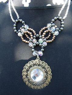 gold and rhinestone pendant necklace  $16.95  www.etsy.com/shop/meandjpsjewelry