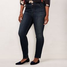 These women's LC Lauren Conrad skinny jeans are a stylish everyday essential. Dark Blue Jeans Outfit, Blue Jean Outfits, Dark Blue Skinny Jeans, Womens Clothing Stores, Plus Size Womens Clothing, Plus Size Outfits, Dresser, Women's Plus Size Jeans, Lc Lauren Conrad
