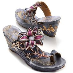 "They'd be Perfect for dancing cheek to cheek on a moon lit Caribbean Island... sigh...Jamaica awaits me : ) Corkys Elite Hand-Painted Leather ""Grapevine"" Slip-on Flower Toe Ring Wedges"