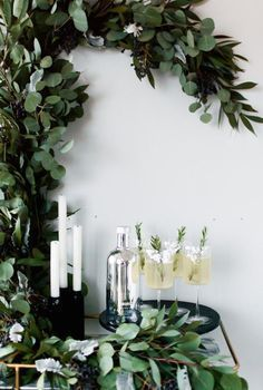 Eucalyptus-adorned drink station