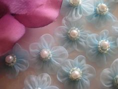 Light blue Organza Flowers with Iridescent Beads and Pearl Center,  Wedding Favors (Something Blue), Sewing, 1 inch / 25 mm, 12 pieces