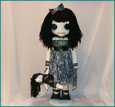 OOAK Hand Stitched Rag Doll Creepy Gothic Folk Art By Jodi Cain Tattered Rags