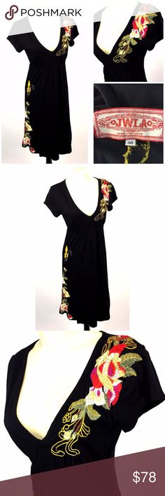 """JWLA Johnny Was Dress Sz M Black Embroidery Floral Black heavily embroidered jersey knit dress by JWLA/Johnny Was; size M * Features floral embroidery on left shoulder and right lower side; butterfly on back; deep V neck; elasticised waist; pull on style * Please see below for measurements; all measurements taken with garment lying flat.  Please see all photos for complete condition assessment. Shoulder to Shoulder: 15"""" Armpit to Armpit (Bust): 17"""" Waist: 12"""" Overall Length: 39"""" Sleeve: 4""""…"""