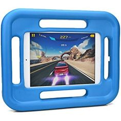 iPad Mini 1 / 2 / 3 / 4 kids case, COOPER GRABSTER Heavy Duty Children's Rugged Tough Bumper Hard Gaming Protective Case Cover with 4 Handles & Free Screen Protector Blue)