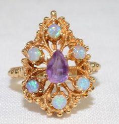 Custom Amethyst & Opal 14k Yellow gold Ring by LadyLibertyGold