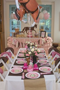 Decorated table at a cowgirl birthday party! See more party ideas at… Horse Theme Birthday Party, Rodeo Birthday Parties, Horse Party, Cowgirl Birthday, Cowgirl Party, 5th Birthday, Birthday Ideas, Pony Party, Festa Party