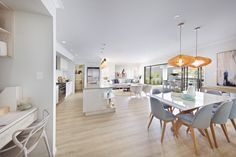 Clarendon Homes.  Brighton 30.  Open plan living with hampton's style study nook, dining, kitchen & family room.