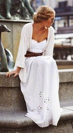 white strapless dress with men's belt