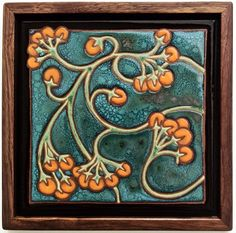 "These firethorn berries, which come from eastern Spain, will spice up your home or work space. This tile measure 8″ × 8,"" with walnut frame measuring 9″ x 9,"" indoor use only."