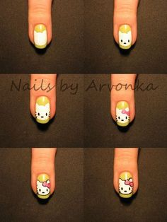 DIY Hello Kitty Nail Design Do It Yourself Fashion Tips /