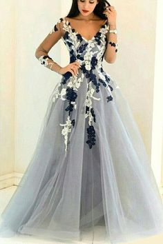 Gray organza V-neck long sleeves see-through handmade flowers A-line long prom dresses,formal dresses