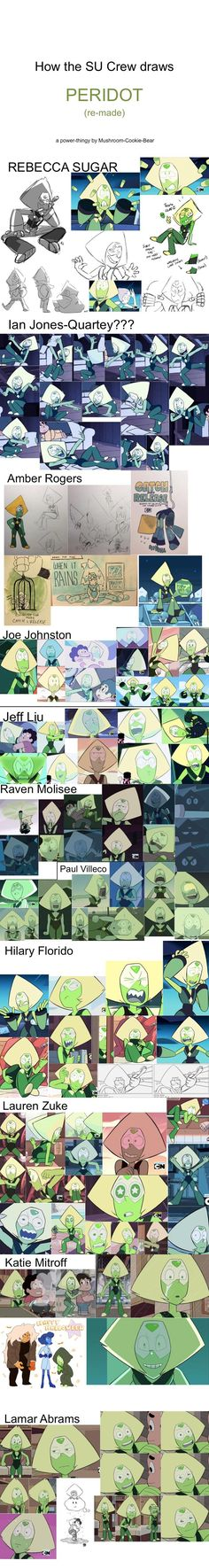 How the SU Crew draws Peridot ~ ! I absolutely looove the stylistic freedom this show encourages. UvU << favs are hilary florido and jeff liu Steven Universe Spoilers, Lapidot, Universe Art, Cartoon Network, Adventure Time, Fandoms, Fan Art, Lapis Lazuli, Peridots
