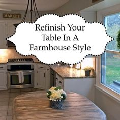 Refinish your kitchen table in a farmhouse style. Make wood appear rustic and distressed like barn wood with natural wood tones and finish. Chalk Paint Kitchen Cabinets, Custom Kitchen Cabinets, Painting Cabinets, Kitchen Paint, Mary's Kitchen, Refinishing Kitchen Tables, Refinished Table, Diy Pallet Wall, Pallet House
