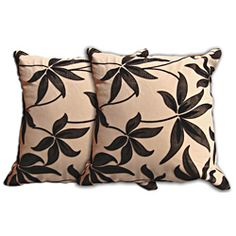 @Overstock.com - Beige Floral Decorative Pillow (Set of 2) - Enliven your living room furniture with this two-piece decorative floral pillow set. With a unique black leaf pattern, these square beige pillows will add a lovely accent, which will revitalize your modern or traditional interior design scheme.  http://www.overstock.com/Home-Garden/Beige-Floral-Decorative-Pillow-Set-of-2/6799420/product.html?CID=214117 $31.49