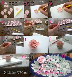 Roses Fondant Flowers, Clay Flowers, Cake Icing, Cupcake Cakes, Eatable Flowers, Sugar Paste Flowers, Cake Models, Cake Decorating Frosting, Cake Craft