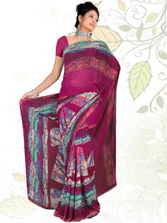 This appealing color will make you look beautiful every time you wear it. The awesome blend of maroon with blue color comes out to be very eye catching. The patch printing done on georgette material completes its look. This saree comes to you at an unbelievable price at kalazone. (Slight variation in color is possible)