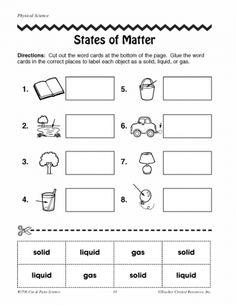 States of Matter Worksheets 2nd Grade