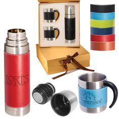 Tuscany (TM) Coffee Cup and Thermos Set Coffee Talk, Coffee Cups, Marketing Merchandise, Holidays And Events, Drinkware, Tuscany, Leather Sleeves, Mugs, Gifts