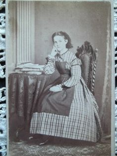 Cute girl with PINNER apron!  CDV Lovely Young Girl Educated Full Skirt Hoop Stack of Books Offenbach Germany