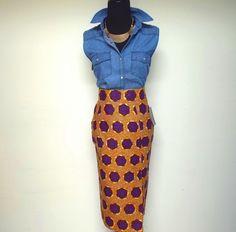 Midi Ankara African Print Ethnic Pencil Skirt - Burnt Orange, Purple #DIYANU #StraightPencil