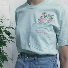 Floral Embroidered Light Blue Shirt with Front Pocket