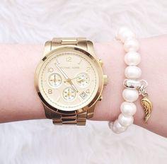 Image via We Heart It https://weheartit.com/entry/154568741 #bracelet #fashion #gold #love #luxury #MichaelKors #watch #wing