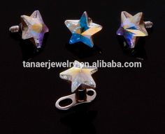 New arrival dermal anchor piercing jewelry A.B. Irridescent C.Z. Floating Star Dermal Anchor Piercing, View Dermal Anchor, tanaer, Tanaer Dermal Anchors piercing Product Details from Dongguan Changan Tanaer Jewelry Factory on Alibaba.com