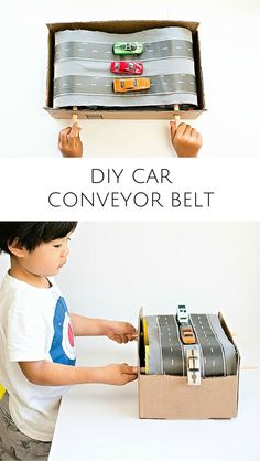 DIY Cardboard Car Conveyor Belt. This easy recycled craft is so fun for the kids to crash toy cars and watch them fall down!