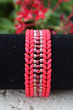 Cherry Red Beaded Bracelet, Seed Bead Bracelet, Superduo Bracelet, Herringbone Stitch Bracelet, Laurel Wreath Bracelet, Neon Red Bracelet by BeadsOnAWireByLisa on Etsy https://www.etsy.com/listing/287638161/cherry-red-beaded-bracelet-seed-bead