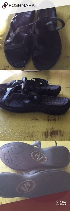 Merrell Black Sandals EUC, never wore. Just not my size! Merrell Shoes Sandals