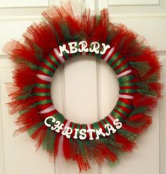 FREE SHIPPING Merry Christmas Red Green White Tulle Wreath on Etsy, $30.00
