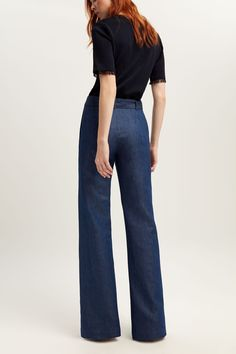 Image result for wide leg denim trousers