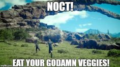 Come on Noct, veggies aren't that bad! Their really 'delicious'!