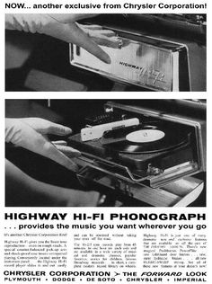 The Highway Hi-Fi dashboard mounted record player that played 45s.