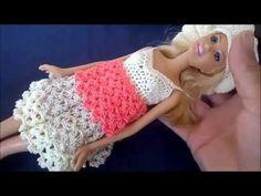 DIY Vestido de crochê com babado para boneca Barbie + arremate - YouTube