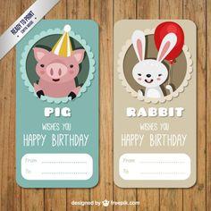 Pig and Rabbit Birthday Label Free Vector