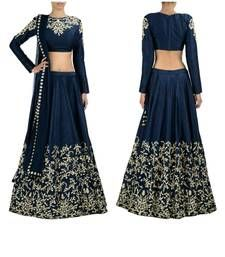 Buy Navy Blue georgette embroidered unstitched Ghagra-choli ghagra-choli online