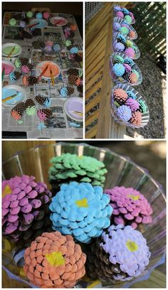 Pinecone flower bouquet craft for kids to make! Great mother's day gift idea or summer centerpiece.