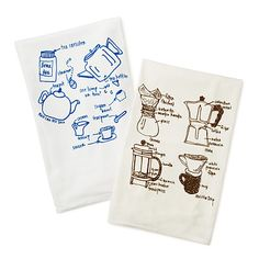 TEA AND COFFEE TEA TOWELS - SET OF 2   cotton dish towel, microscope parts, projector parts   UncommonGoods