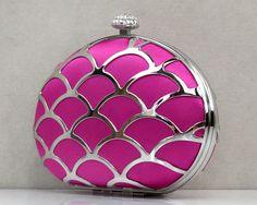 Pretty Silk Handbag With Fish Scale Pattern