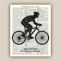 Bike art, Bicyclist Gifts, PERSONALIZED Cyclist gift, bike print, bike party, bicycle art, bicycle wall art, bicycle print, 11x14 by DigiMarthe on Etsy