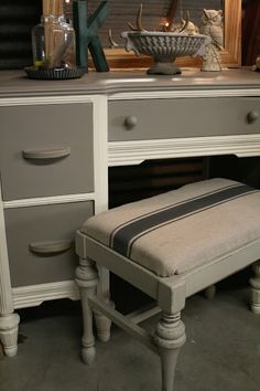 Two-toned desk & graphite painted grain sack bench