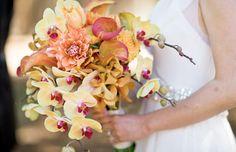Posh Bridal Bouquet Comprised Of: Dahlias, Calla Lilies & Orchids